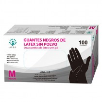 GUANTES LATEX NEGROS TALLA M 100UNID