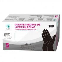GUANTES LATEX NEGROS TALLA PEQ 100UNID