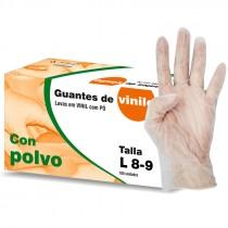 GUANTES VINILO CON POLVO TALLA L 8/9  100UNI*