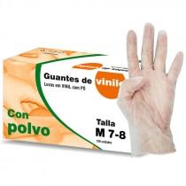 GUANTES VINILO CON POLVO TALLA M 7/8  100UNI*