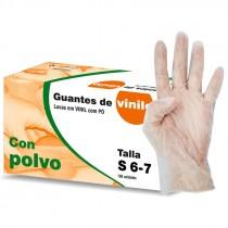 GUANTES VINILO CON POLVO TALLA S 6/7  100UNI*
