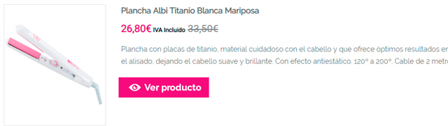 Plancha Albi Titanio Blanca Mariposa