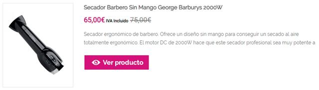Secador Barbero Sin Mango George Barburys 2000W