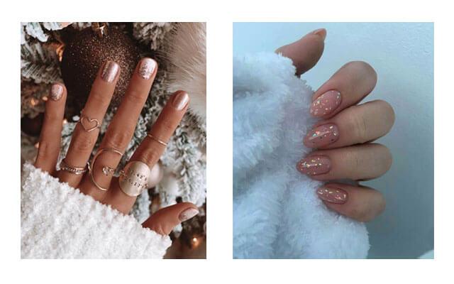Diseños para uñas navideñas - glitter