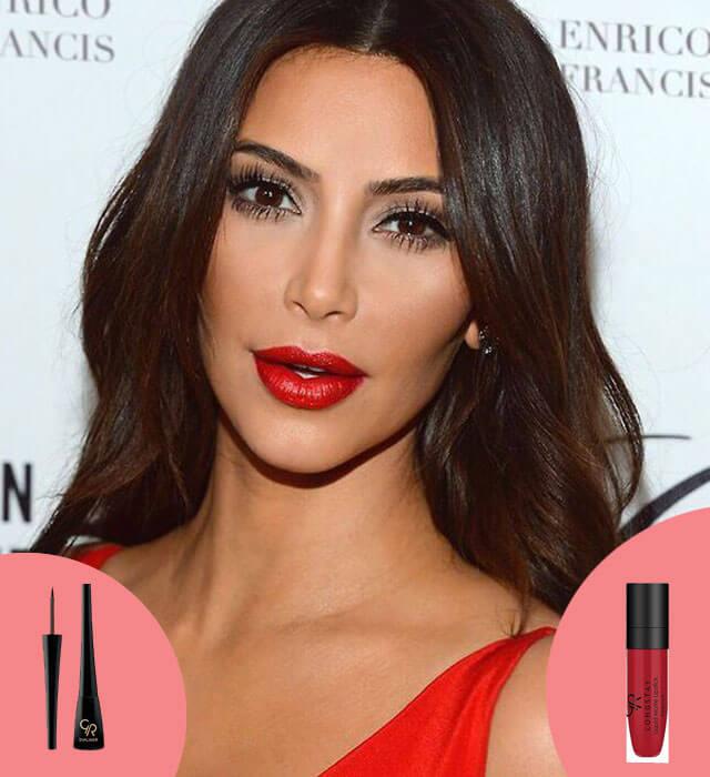 maquillaje para la noche de reyes - eye liner y labios rojos