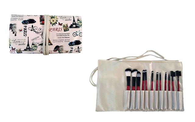 Manta Albi incluye 12 pinceles para cualquier ocasión y sobre todo para cualquier maquillaje.
